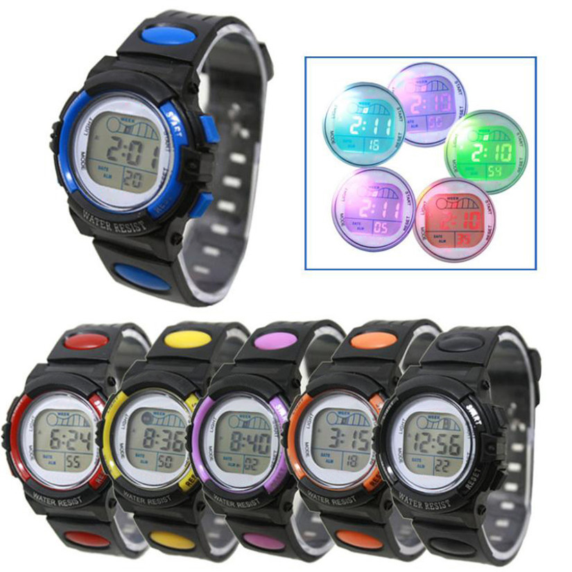 Perfect Gift  Fashion   Girl Boy LED Light Wrist Watch Alarm Date Digital Multifunction Sport BU Levert Dropship Oct28 wholesale free shipping china custom plastic cool light fashion big mens boy waterproof led alarm electronic digital watch