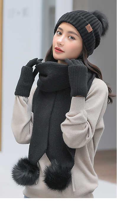 ニット帽子スカーフ 3 フェイクファーポンポンボール 2 ピースセット女性ビーニー冬 2018 ファッション織ニットセットビーニー赤