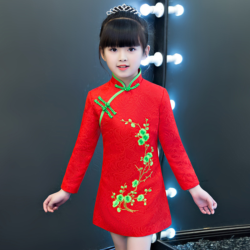 Children Long Sleeve Cheongsam Red Chinese Traditional Wedding Flower Girl Princess Dress New Year Dresses Qipao Embroidery
