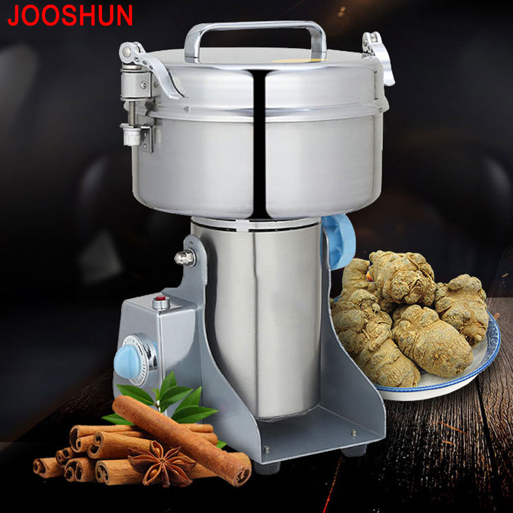 2000G Swing Full Stainless Steel Herb Grinder/ Food Powder Grinding Crusher Machine/Coffee Grinder,Household Electric Flour Mill cukyi household electric multi function cooker 220v stainless steel colorful stew cook steam machine 5 in 1