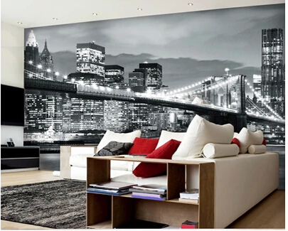 Modern wallpaper for living room bedroom night of the new for Black and white new york mural wallpaper