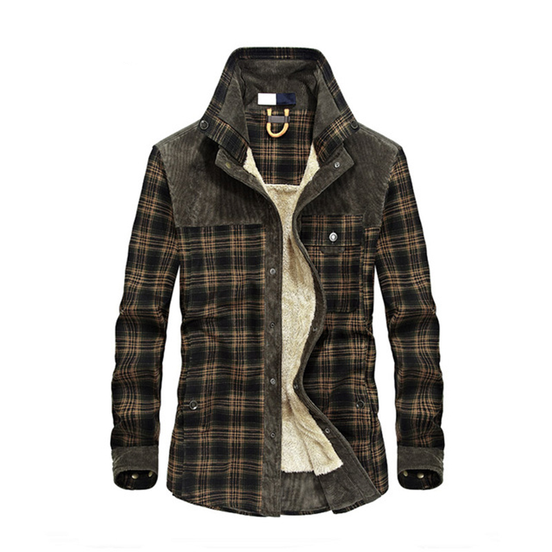 2019 New Spring Autumn Fleece Men Winter Jacket Plaid Classical Button Jacket M-3XL
