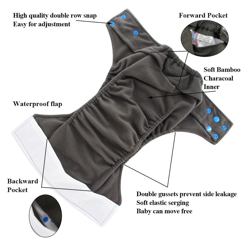 Image 3 - OhBabyKa Washable Baby Cloth Diaper Bamboo Charcoal Reusable All in two Pocket Diaper Adjustable+6pcs Bamboo Insert Baby Nappies-in Baby Nappies from Mother & Kids