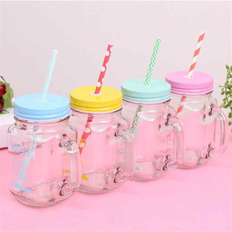 15oz Transparent Fruit Juice Cool Drink Glass Cup Mug Mason Jar Lemon Bottle With Cover Straw Sport Water Bottle
