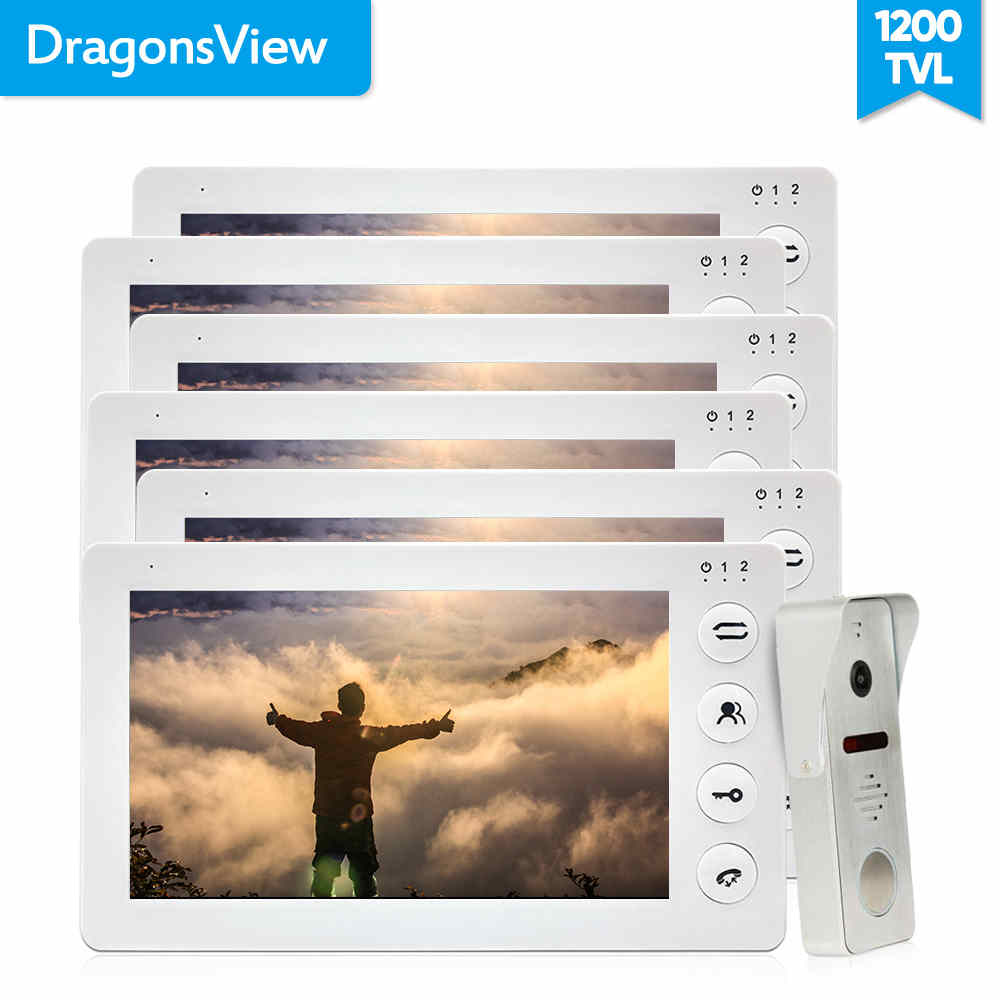 Dragonsview 7 Inch Video Intercom Doorbell Door Phone System Record Motion White 3/4/5/6 Monitor 1 Doorbells For Private House
