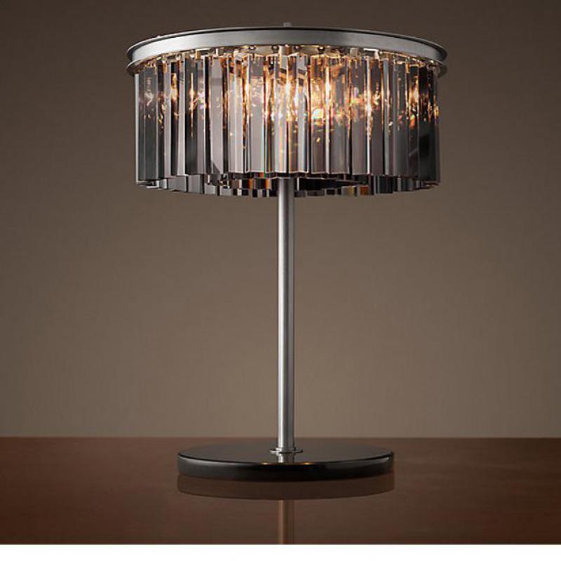 Antique Round Smoke Crystal Table Lamp Abajur E144 Rh Loft Rural