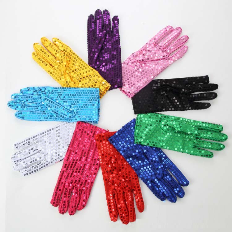 Festival Sequin Wrist Gloves For Party Dance Event Kids Adult Unisex Polyester Women Gloves