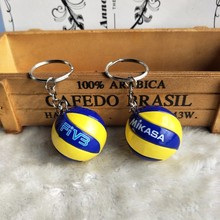 2pcs/lot Sport outdoor tools Beach Volleyball PVC Keychain key ring Football &Basketball Ball Key Ring birthday gifts