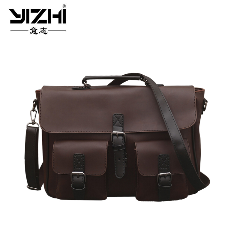 YIZHI2018 Business Men's Briefcase High Quality Buckle PU Leather Shoulder Bag 14 Inch Laptop Bag Portable Brown Handbag