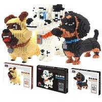 Challenge Connection Blocks Big Size Cute Dachshund Model Brinquedos Pet Dog Cartoon Building Bricks Kids Toys FOR Children