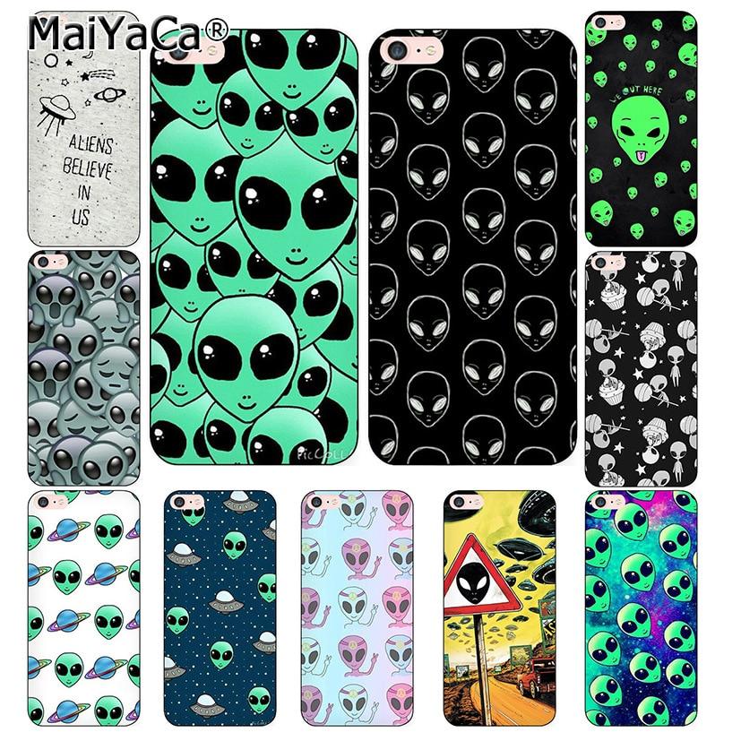MaiYaCa For iphone 7 6 X Case Alien Believe UFO ET cute Emoji phone Case For iphone X 6 6s 6Plus 6splus 8 8plus cover iPhone