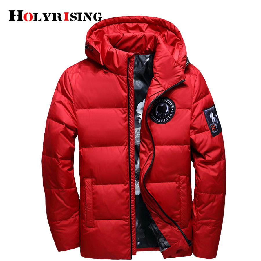 Holyrising Down-Jacket Duck Down18381 Winter Hooded Thin Masculino Jaqueta Casaco Inverno