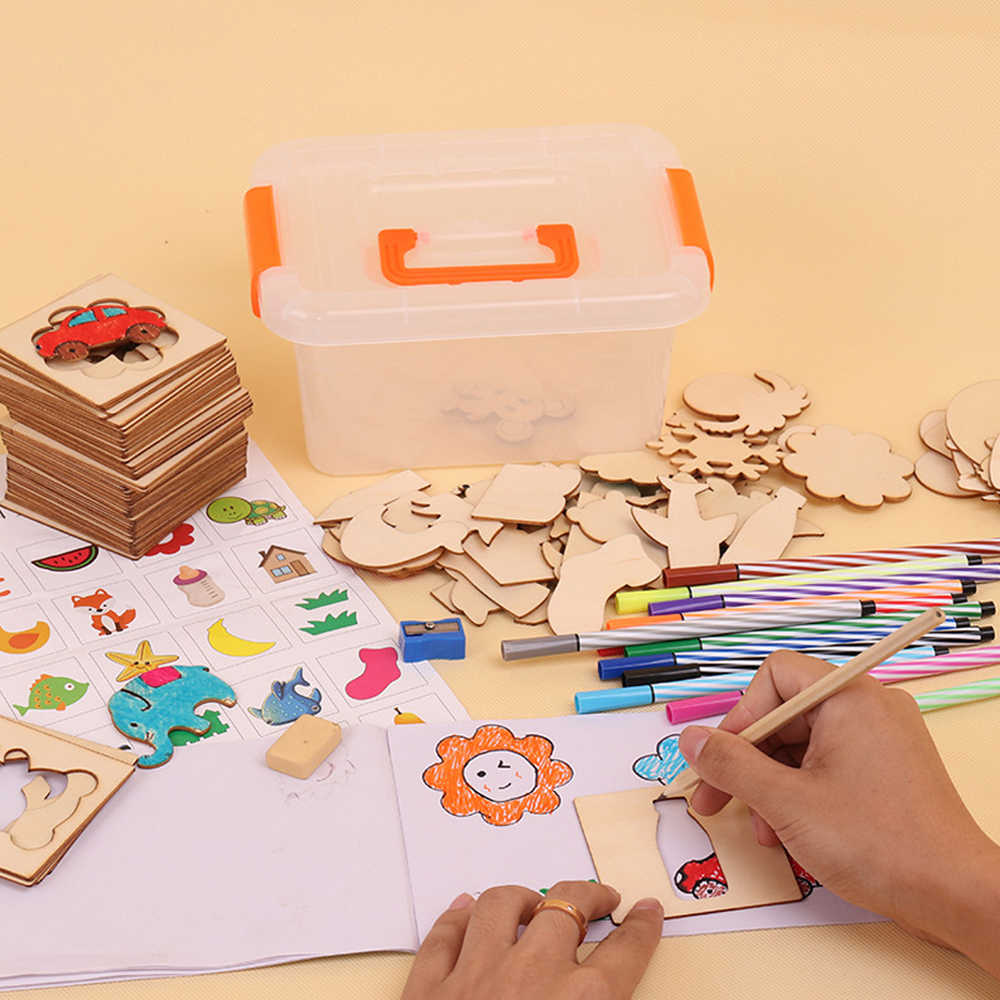 100 печатная плата школа краски инструменты рисунки по дереву шаблоны чертёжные доски деревянные детские игрушки для рисования Развивающие игрушки для детей