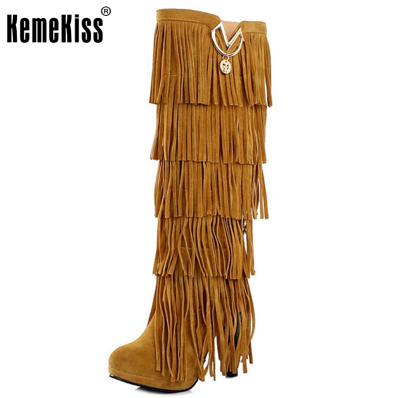 Plus size 32-43 New Flock Winter Fur Women boots High heels Knee boots Fringe Tassels Fashion Black Brown Red Yellow Beige Punk brand new fashion black yellow women knee high cowboy motorcycle boots ladies shoes high heels a 16 zip plus big size 32 43 10