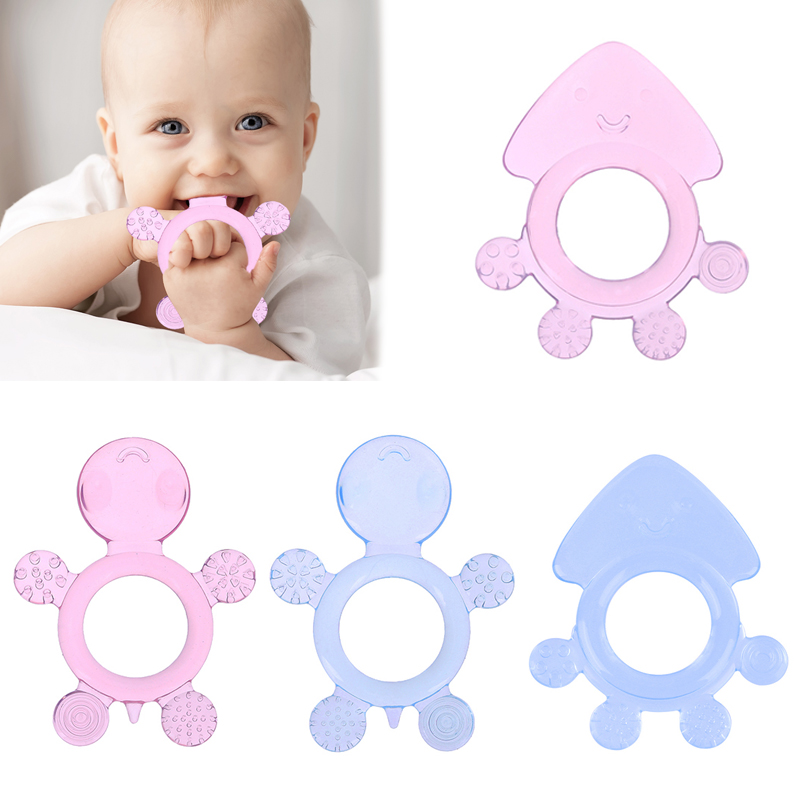 1pc Safety Cute Baby Teether Toys Kids Food Grade Silicone Teether Baby Soother Teething Chewable Pacifier Toys Baby Health Care