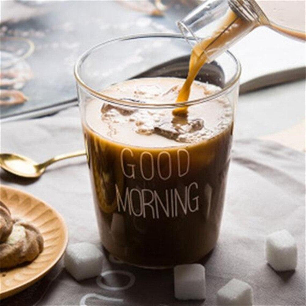 Glas Becher Kreative Brief Milch Saft Wasser Tasse Schwarz Weiß Griff Drink Liebhaber Paar Transparent Becher Geschenke|Tassen| - AliExpress