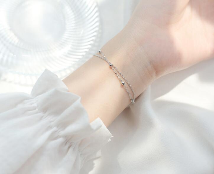 100% Authentische Echt. 925 Sterling Silber Edlen Schmuck Doppel-reihen/multi-layers Glück Runde Perlen Kette Armband Charme Gtls710