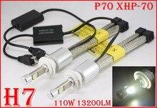 1 Set H7 110W 13200LM P70 LED Headlight XHP-70 4LED Chip Fanless Super Slim Conversion Kit Driving Fog Lamp Bulb 5000K 6000K 55W