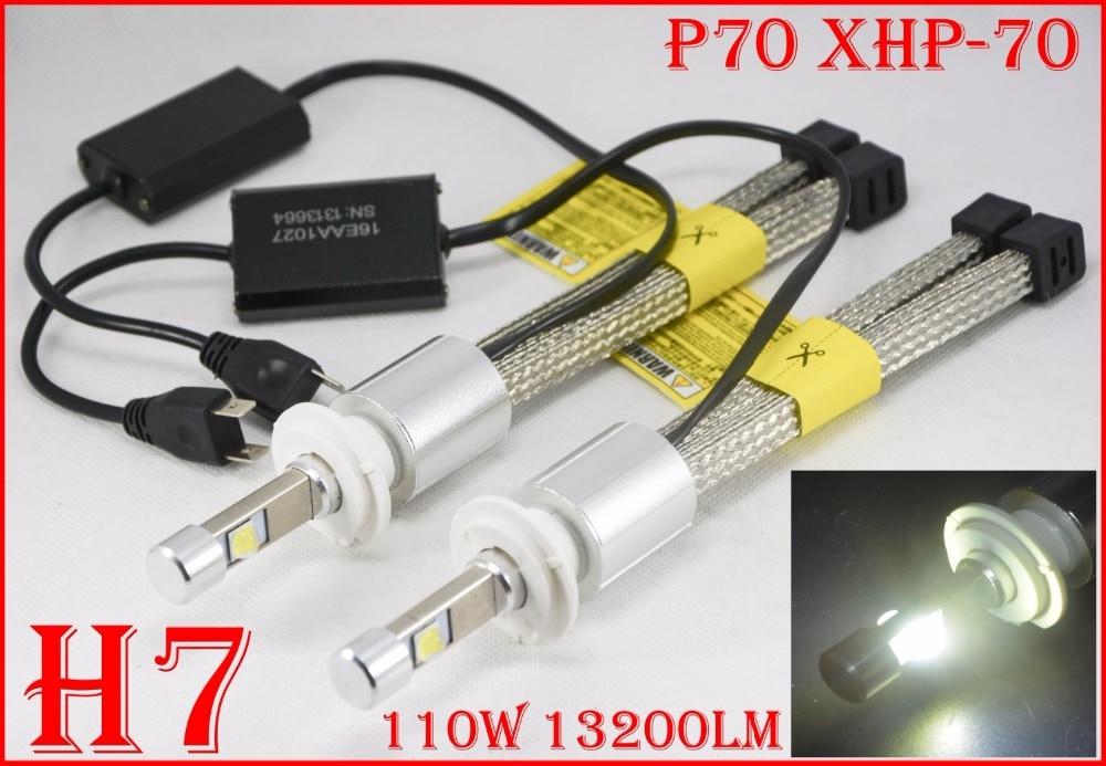 1 set H7 110 w 13200LM XHP-70 LED CHIP P70 Auto HA CONDOTTO il Faro H4 H8 H9 H11 9005 9006 9012 hir2 Fanless Anteriore Lampade A Bulbo 5 k 6 k 12 v