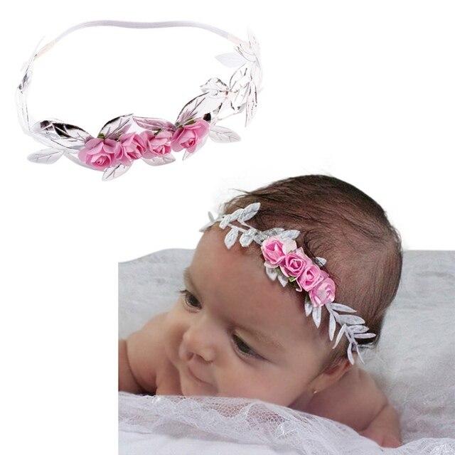 eabd7036896 Newborn Girls Cute Headwear Hair Accessories Headband Children Elastic Flower  Crown Hair Bands Baby Floral Headband