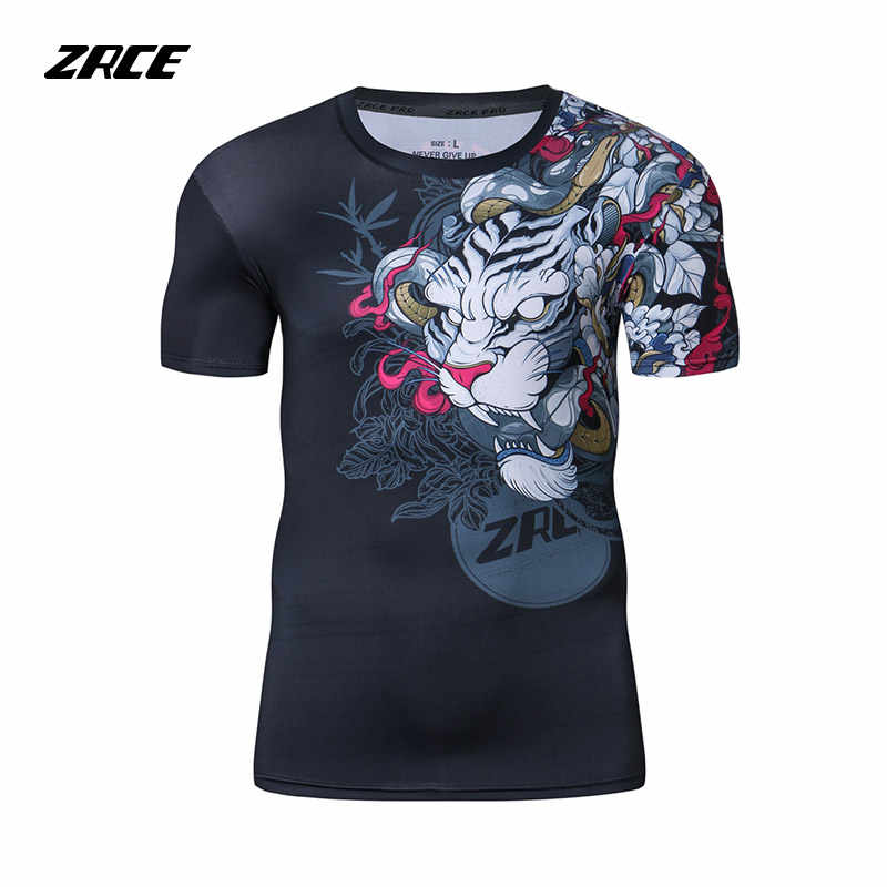 2018 Newest Compression Shirt Fitness 3D Prints Short Sleeves T Shirt Men Bodybuilding Skin Tight Crossfit Workout O-Neck Top