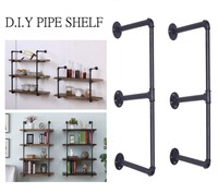 Industrial Retro Bookshelf Black Wall Ceiling Mounted Open Bookshelf Parts Bracket Iron Pipe Shelf