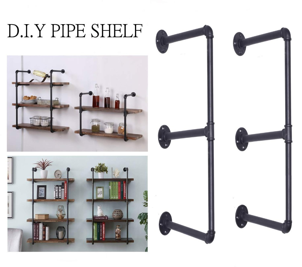 Industrial Retro Bookshelf Black Wall Ceiling Mounted Open Bookshelf Parts Bracket Iron Pipe Shelf free shipping iron wood american country metal pipe bookshelf retro shelf shelves showcase industrial pipes bookcase shelf z21