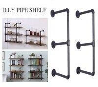 Industrial Retro Bookshelf Black Wall Ceiling Mounted Open Bookshelf Parts Bracket Iron Pipe Shelf