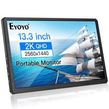 Eyoyo 13.3 inch Portable 2K Gaming Monitor 2560×1400 HDR IPS LCD Display USB C and Hdmi Video Input compatible with MAC Laptop