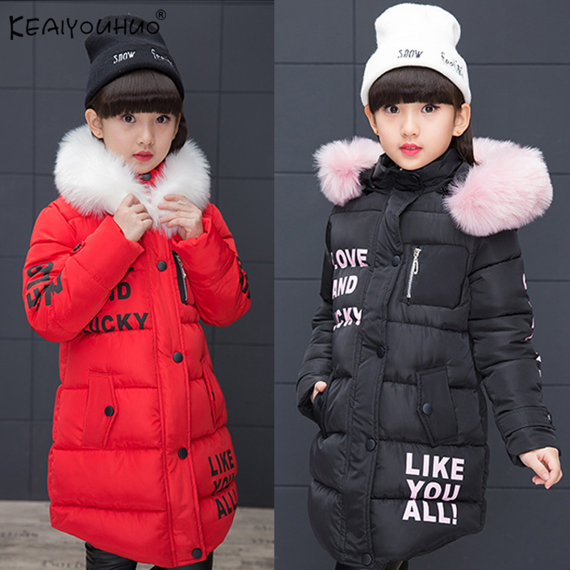 High Quality Winter Girls Coats KEAIYOUHUO Brands Jackets For Girls Long Style Hooded Thick Kids Coats Warm Children's Outerwear mmc brand children s winter thick warm brief style gradient splice high quality hooded down coats for girls 90