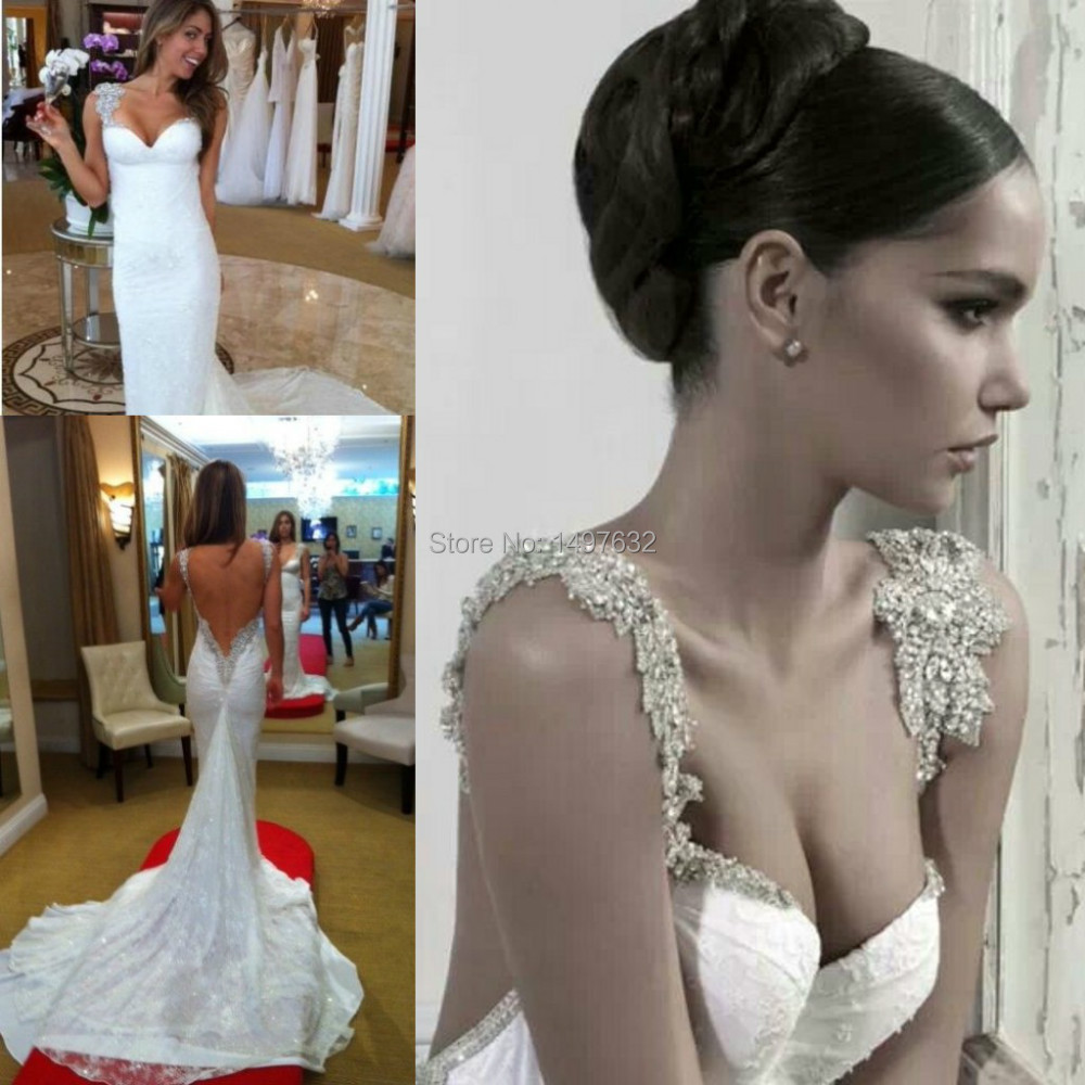 hot selling beaded spaghetti strap sweetheart boho sexy backless wedding dress 2017 bridal gown free shipping in wedding dresses from weddings events on