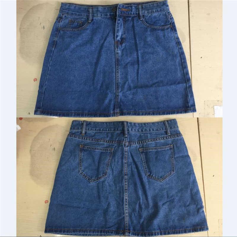 1e162ee29a ... High Waist Denim Skirt 2019 Spring Summer A Line Short Jeans Skirt  Women Large Size Blue ...