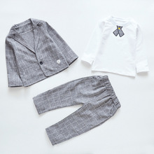цена на Boys Spring and Autumn New Kit Kids Leisure Checker Cotton Suit Boys Clothes Jacket + Long Trousers + Long Sleeves