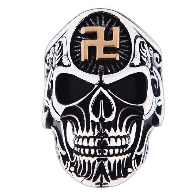 316L Stainless Steel Vintage Punk Rings Skull Men Jewelry