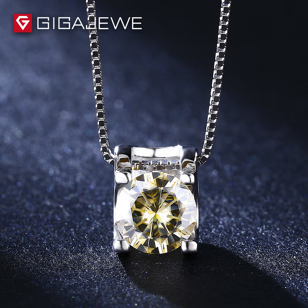 GIGAJEWE 0.8 carat  yellow Color moissanite Synthetic diamonds for Wedding Engagement 925 Sterling Silver