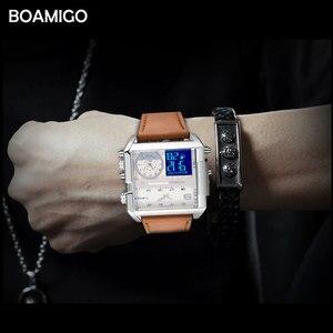 Image 3 - ドロップシッピング BOAMIGO ブランド男性 3 タイムゾーンの時計男スポーツデジタル腕時計ブラウンレザー軍事クォーツ時計レロジオ masculino