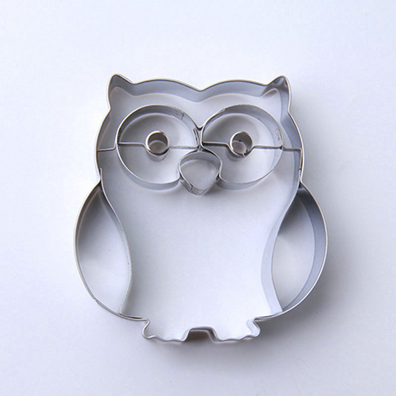 Amw 3D Forma Owl Formuar Cookie Cutter Steel Inox Cartoon Animal Biscuit Mould Fondant Cutter Cutter Tools