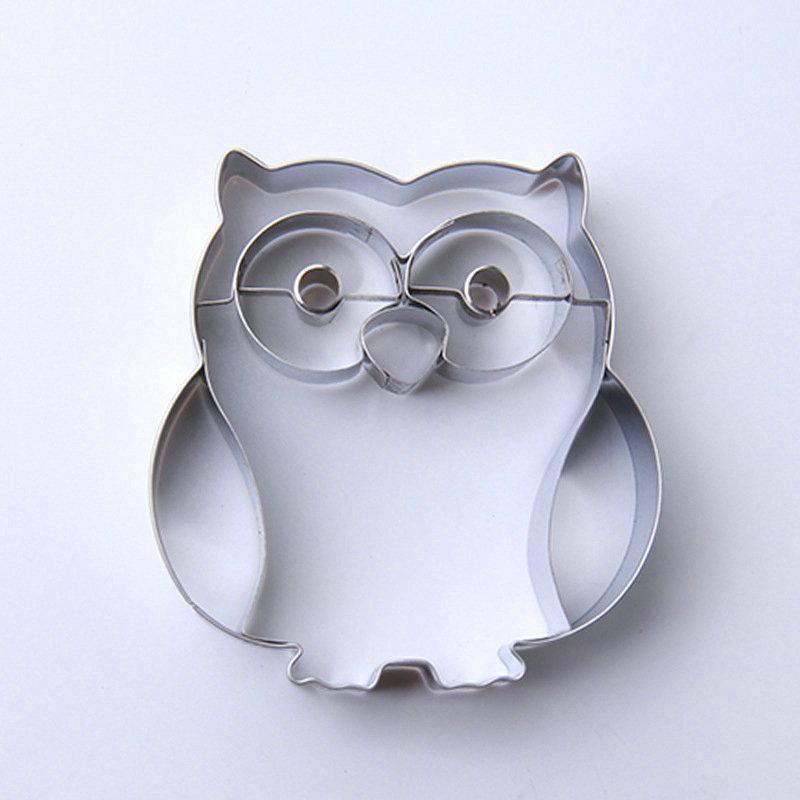 AMW 3D Owl Shaped Stainless Steel Cookie Cutter Cartoon Animal - Dapur, makan dan bar