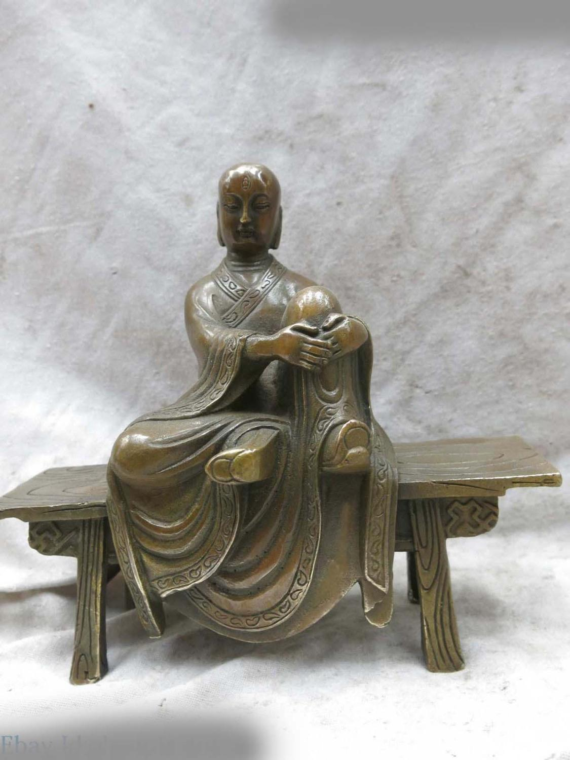 DS Brass Sculpture China Carved Fine Copper Buddhism Buddha Wooden Bench Statue
