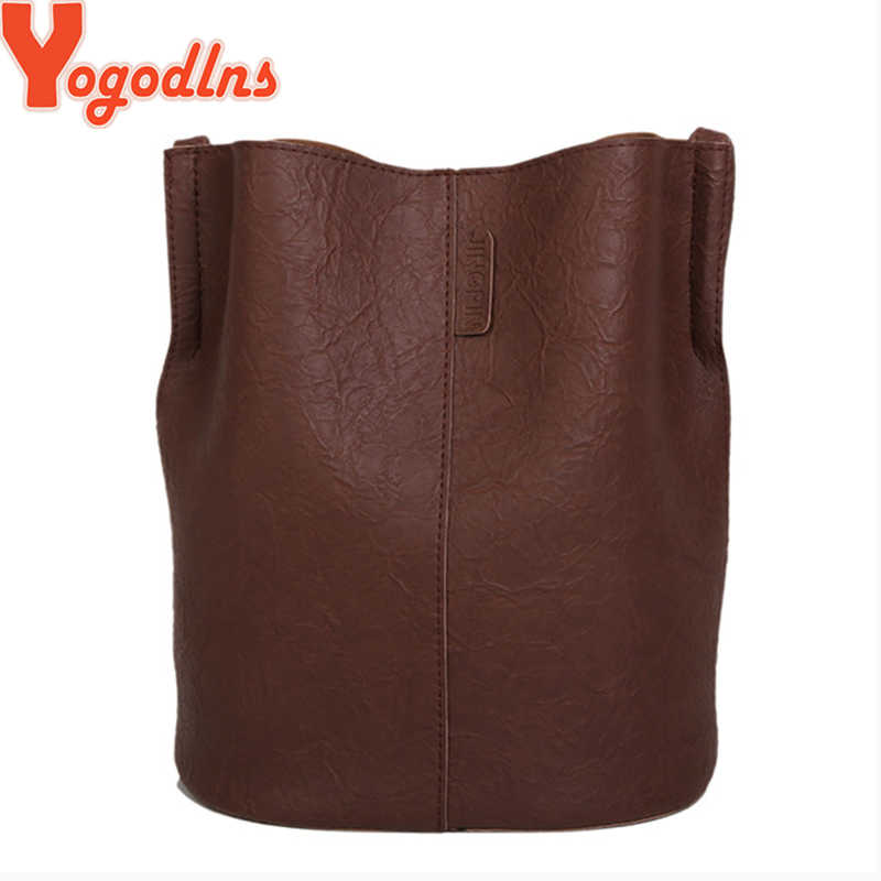 Yogodlns Vintage Female Shopping Bucket Bag For Women Soft Pu Leather Large Capacity Shoulder Messenger Bag Crossbody Bag Bolsa