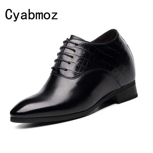 Crocodile Classic Black Genuine Leather Invisibly Heightening Increasing 10CM Elevator Shoes Men's Party Wedding Dress Shoes