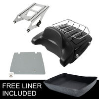 Chopped Tour Pak Trunk W/ Latch Mounting Rack +Backrest For Harley Touring Road King FLHX 14 18
