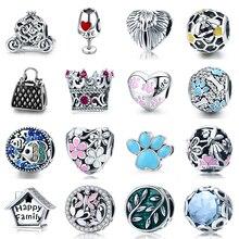 925 Silver Pumpkin Car fit Pandora Bracelet Win Cup Handbag Beads Cute Daisy Cat Paw Heart Honeybee House Crown Elf Charms DIY