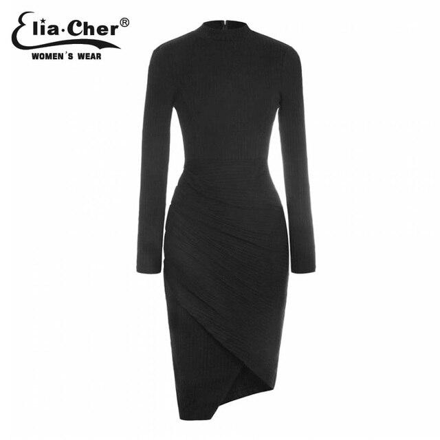 Женщины одеваются 2015 Bodycon зимние платья Eliacher бренд Большой размер женской одежды сексуальная свитер миди платья vestidos