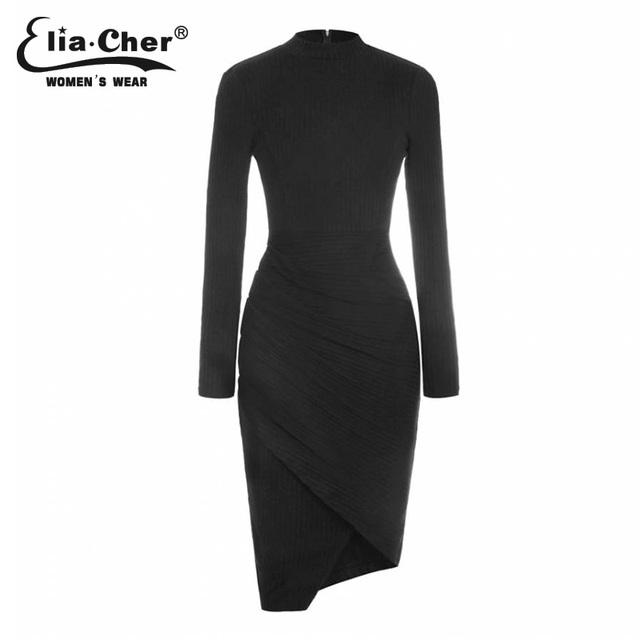 Elia-Cher Brand Knitted Warm Elegant Winter Dress