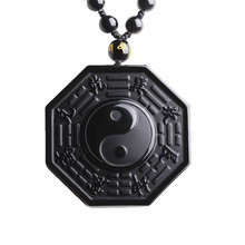 Natural Obsidian Pendant Yin And Yang TaiChi Gossip crystal BaGua Necklace For Women Men Fine Jewelry Wholesale