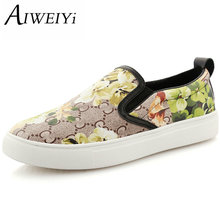 AIWEIYi 2017 Women Genuine Leather Shoes Woman Handmade Suede Leather Flats Cowhide Flexible Boat Shoes Women Loafer Plus Size