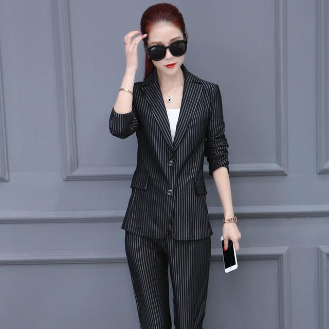 Fall fashion suit women's new ladies temperament Slim thin OL striped suit two-piece suit
