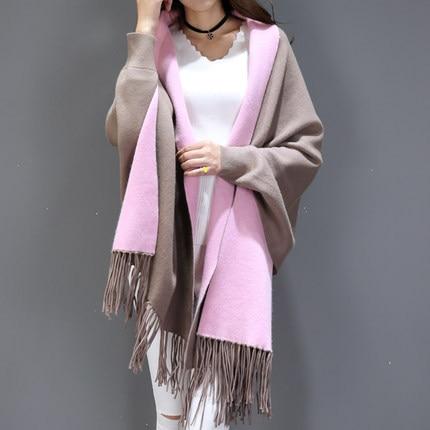 SC2 большой шарф Зимний вязаный пончо женский однотонный дизайнерский плащ женский длинный рукав летучая мышь пальто винтажная шаль - Цвет: Khaki With Pink