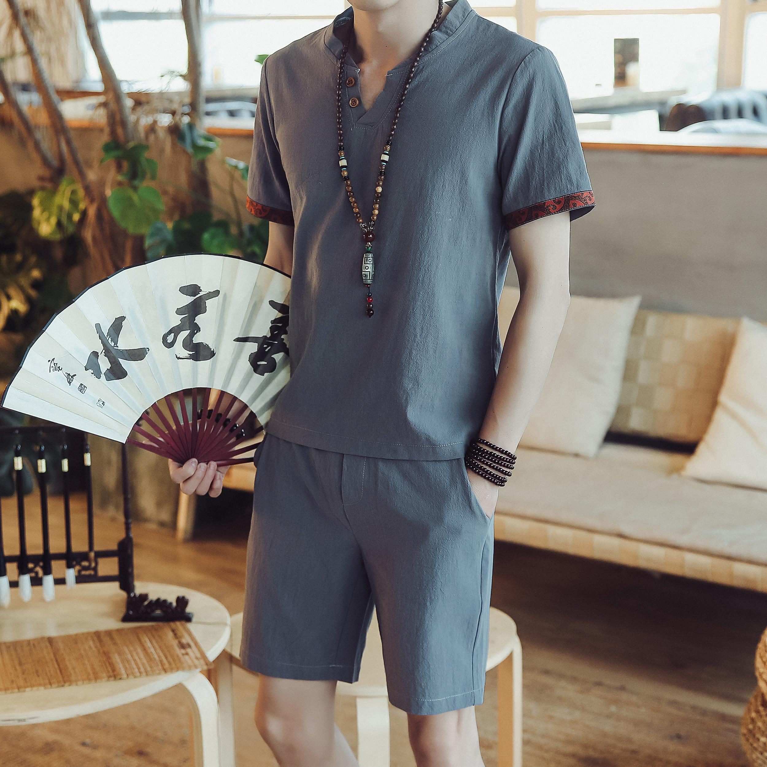 Loldeal Summer Men 39 s Chinese Style Plain Short Sleeve T Shirt Shorts Cotton Set in Men 39 s Sets from Men 39 s Clothing